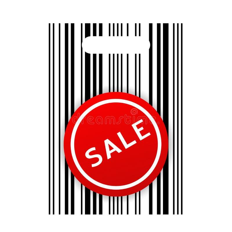etikett för shopping för påsebarcodeförsäljning stock illustrationer