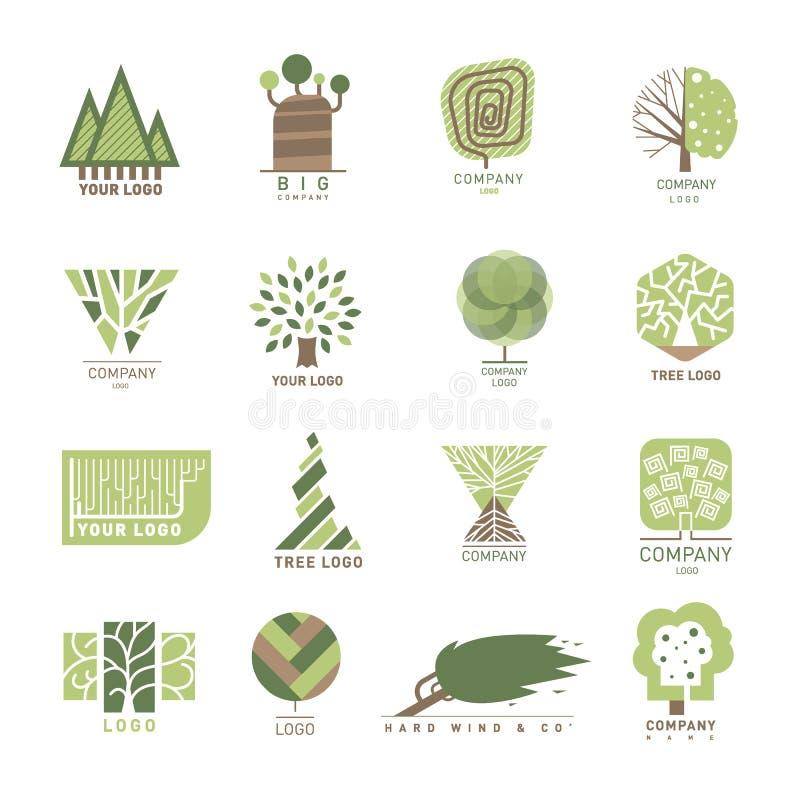 Etikett för skog för wood för ek för vektorträd för design emblem för beståndsdel modern och mallnaturetikett för ditt affärsecod vektor illustrationer