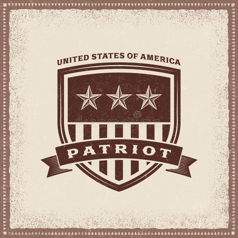 Etikett för tappningUSA patriot vektor illustrationer