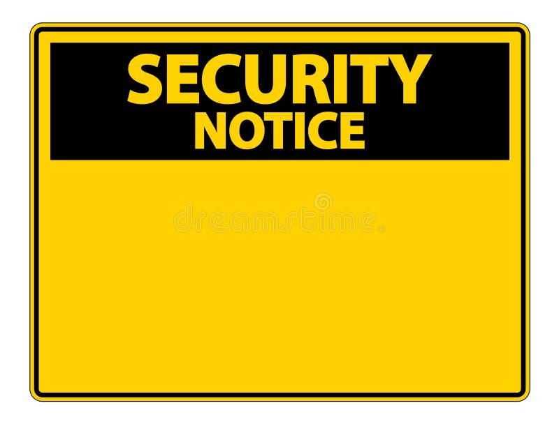 etikett för tecken för symbolsäkerhetsmeddelande på vit bakgrund stock illustrationer