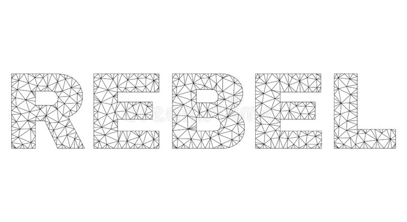 Etikett f?r text f?r Polygonal tr?dram REBELLISK stock illustrationer