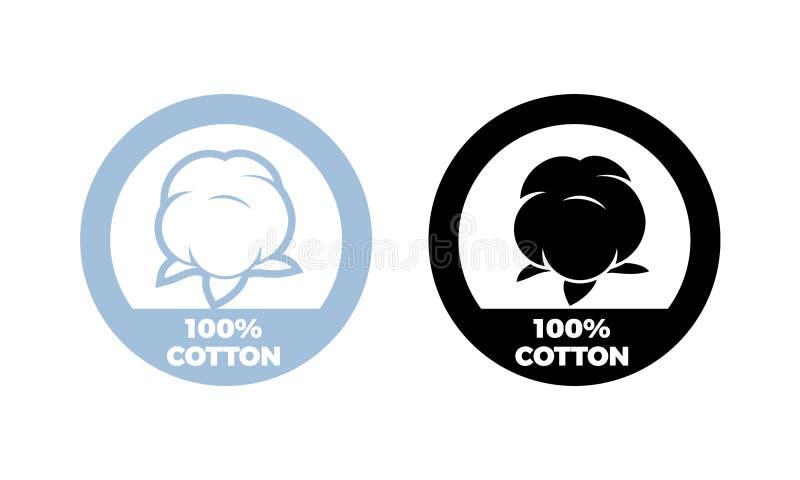 Etikett för textil för bomullssymbolsvektor 100 naturlig vektor illustrationer