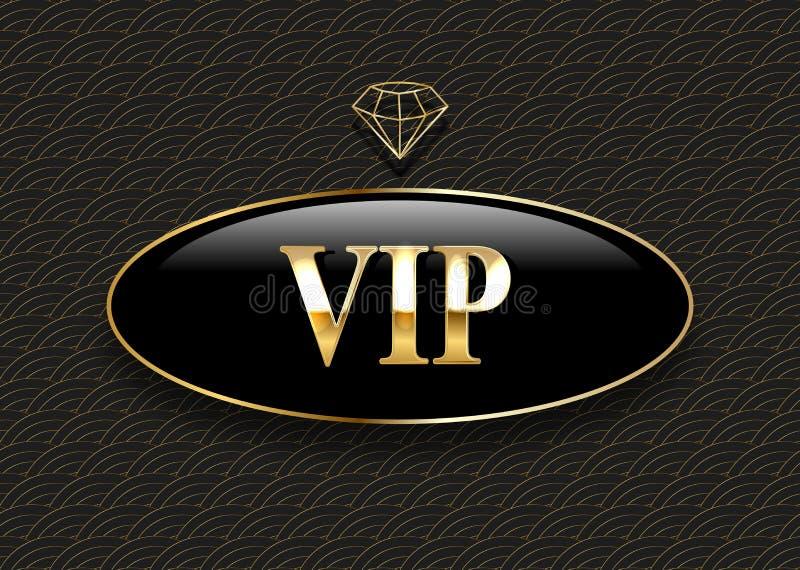 Etikett f?r Vip-svartexponeringsglas med den guld- kronan och ram p? en svart modellbakgrund vektor illustrationer