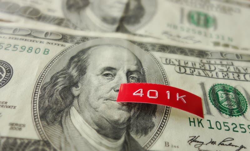 etikett 401K på pengar arkivbilder