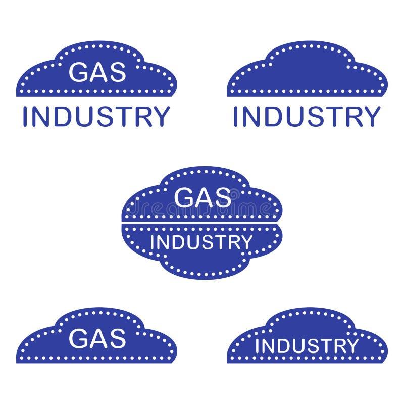 Etikett klistermärkear, logoer av gasbranschen stock illustrationer