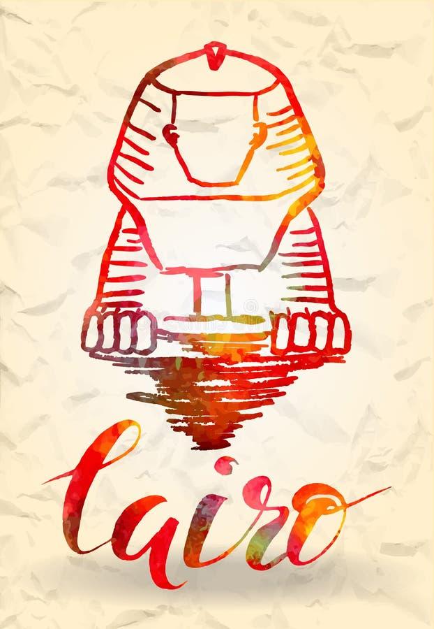 etikett med den hand drog Kairoetiketten med den hand drog sfinxen som märker Kairo med den röda påfyllningen för vattenfärg stock illustrationer