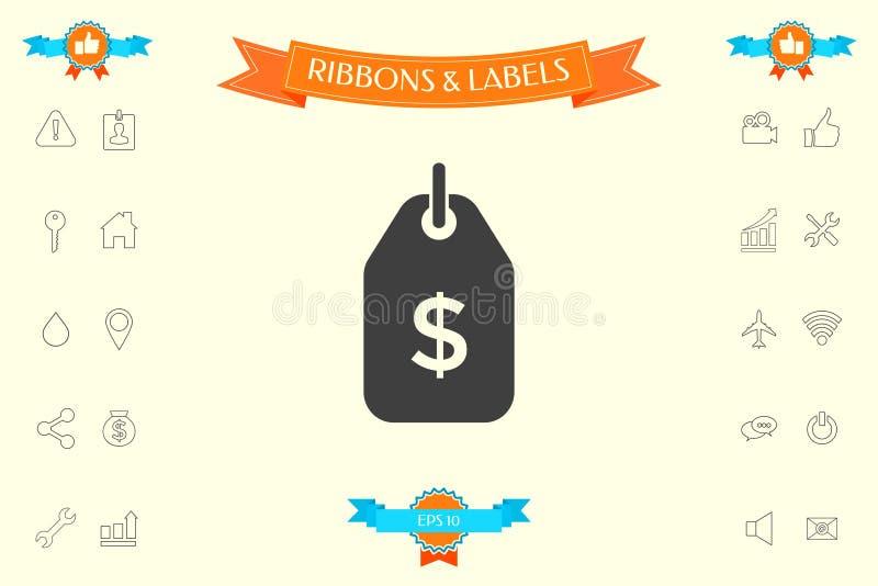 Etikett med dollarsymbol Prislappsymbol för nedladdning arkivbild