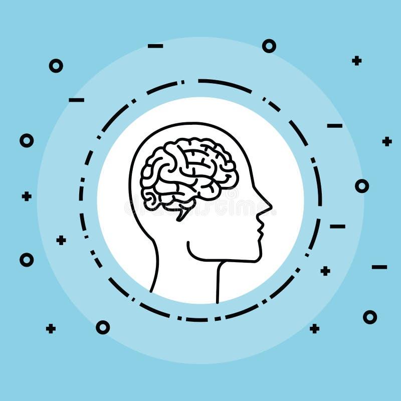 Etikett med hjärnan inom konturmanhuvudet royaltyfri illustrationer