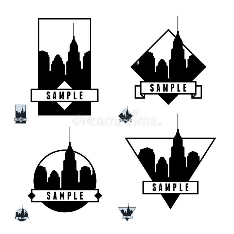 Etikett med skyskrapor royaltyfri illustrationer