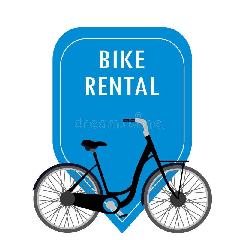 Etikett och cykel för cykel som uthyrnings- isoleras på vit bakgrund vektor illustrationer