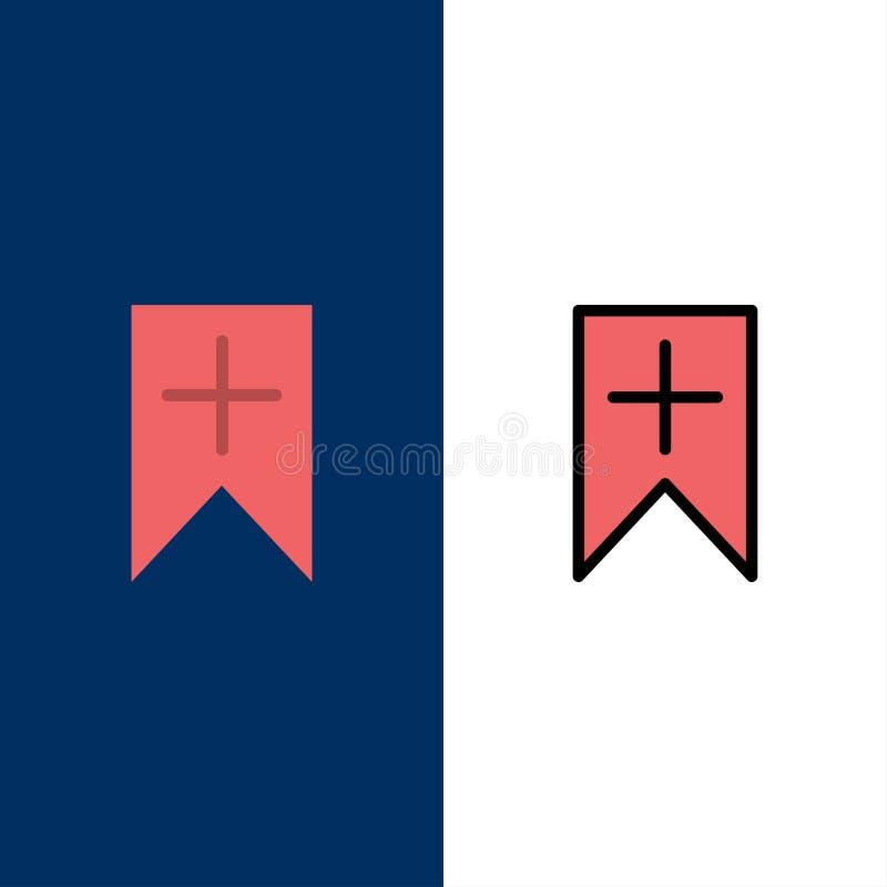 Etikett plus, manöverenhet, användaresymboler Lägenheten och linjen fylld symbol ställde in blå bakgrund för vektorn royaltyfri illustrationer