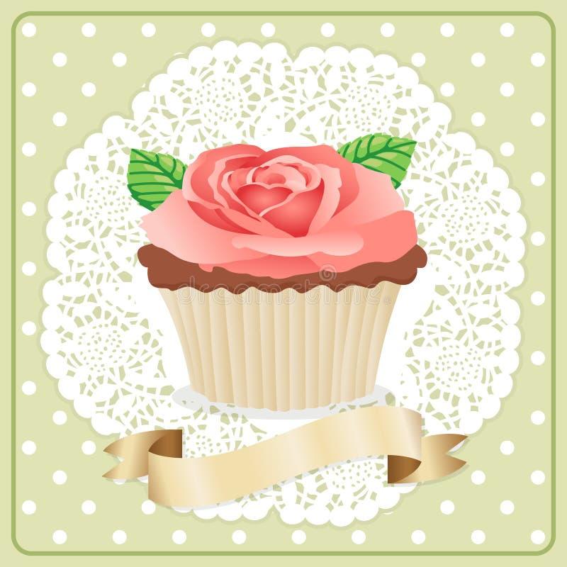 Etikett Rose Flower Cupcake stock illustrationer