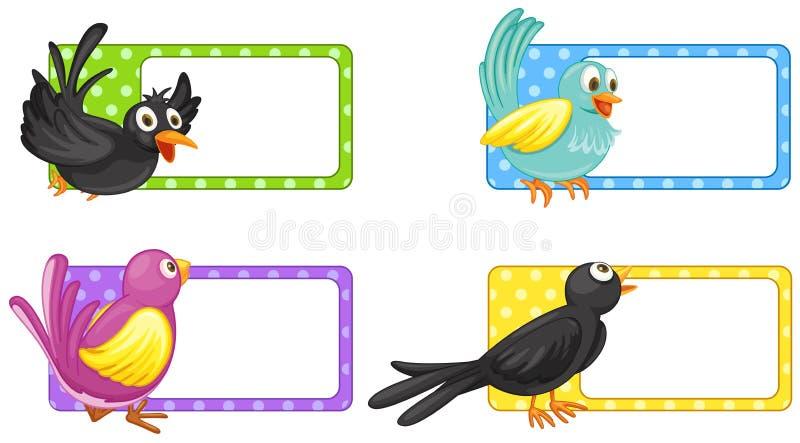 Etikettdesign med lösa fåglar vektor illustrationer
