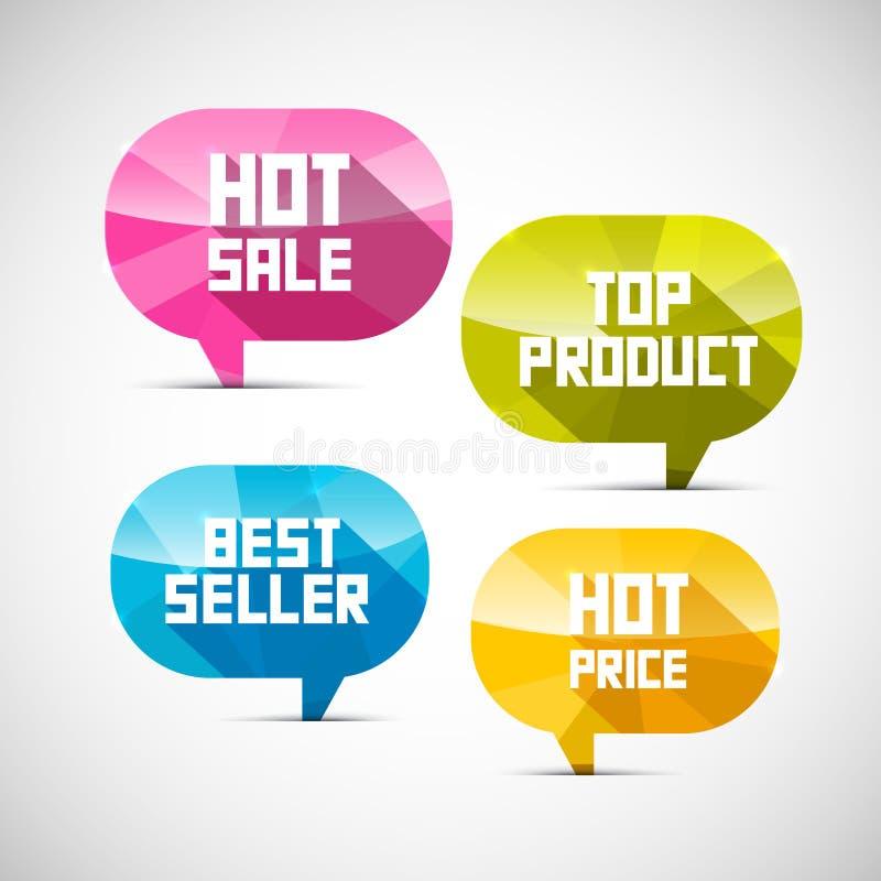 Etiketten Bestseller, Hoogste Product, Hete Verkoop, Prijs vector illustratie