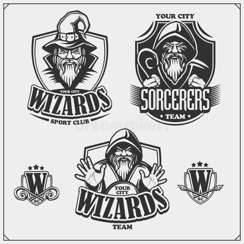 Etiketten, emblemen en ontwerpelementen voor sportclub met tovenaar of tovenaar Drukontwerp voor t-shirts vector illustratie
