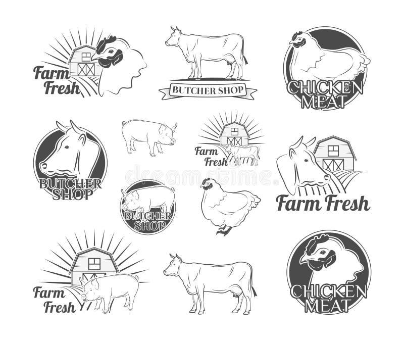Etiketten en kentekens met een slagerij Kip, Rundvlees, Varkensvlees Vector illustratie stock illustratie