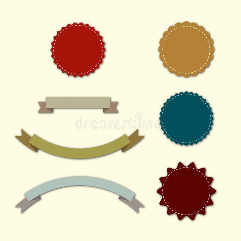 Etiketten en linten in retro uitstekende stijl stock illustratie