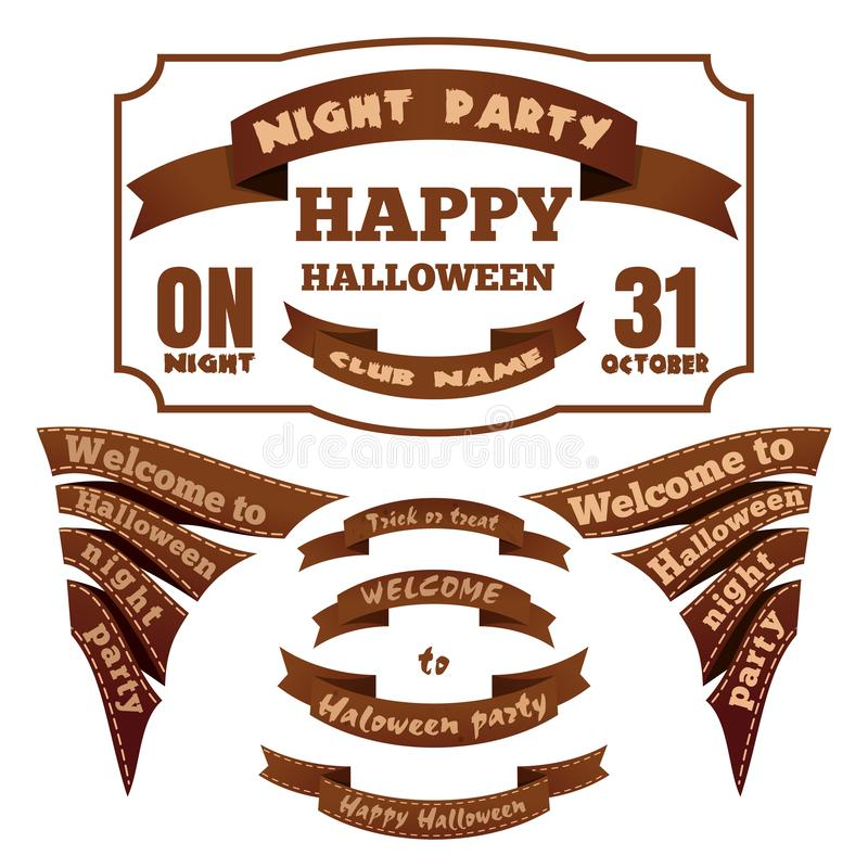 Etiketten en linten voor Halloween Vector pictogrammen vector illustratie