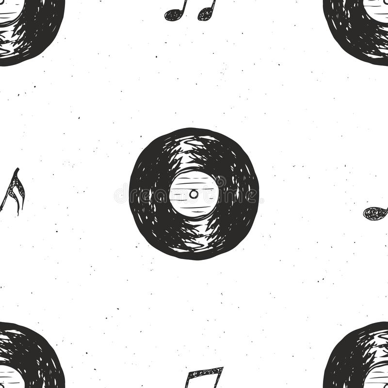 Etiketten för modellen för tappning för vinylrekordet skissar den sömlösa drog handen, det grunge texturerade retro emblemet, det vektor illustrationer