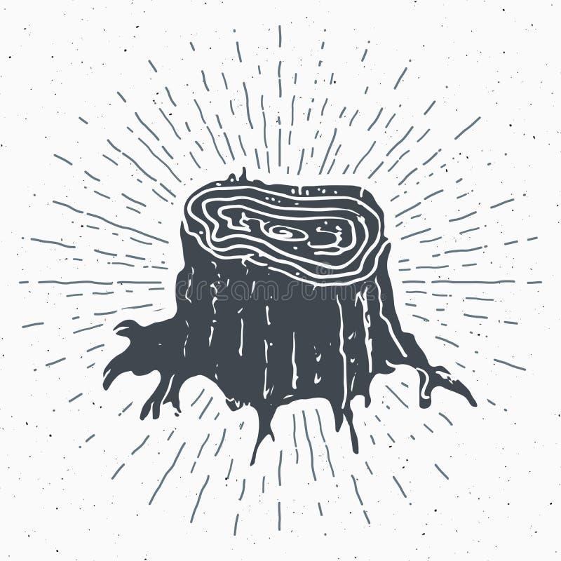 Etiketten för tappning för trädstubben, den drog handen skissar, det grunge texturerade retro emblemet, det typografidesignt-skjo vektor illustrationer
