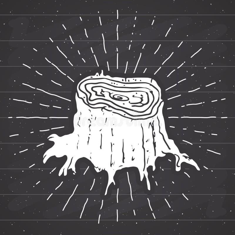 Etiketten för tappning för trädstubben, den drog handen skissar, det grunge texturerade retro emblemet, det typografidesignt-skjo stock illustrationer