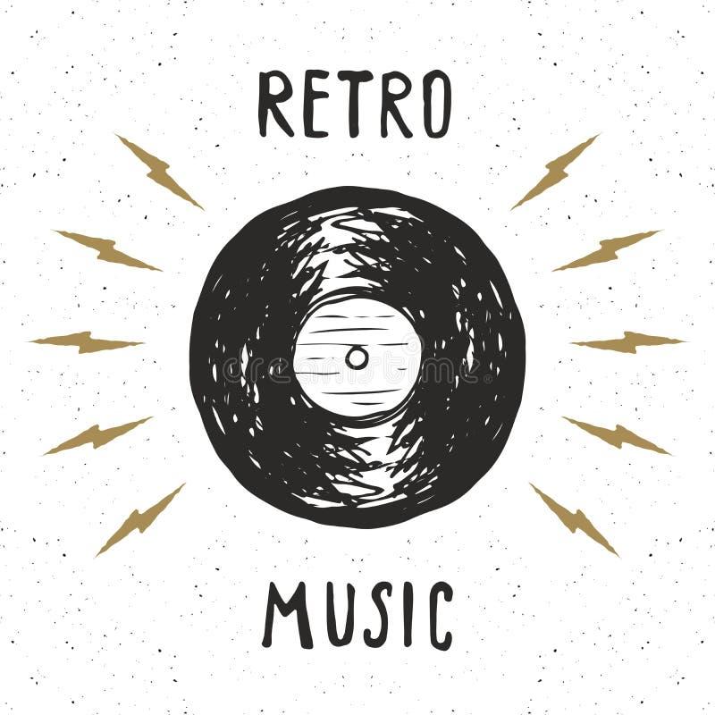 Etiketten för tappning för vinylrekordet, den drog handen skissar, det grunge texturerade retro emblemet, det typografidesignt-sk stock illustrationer