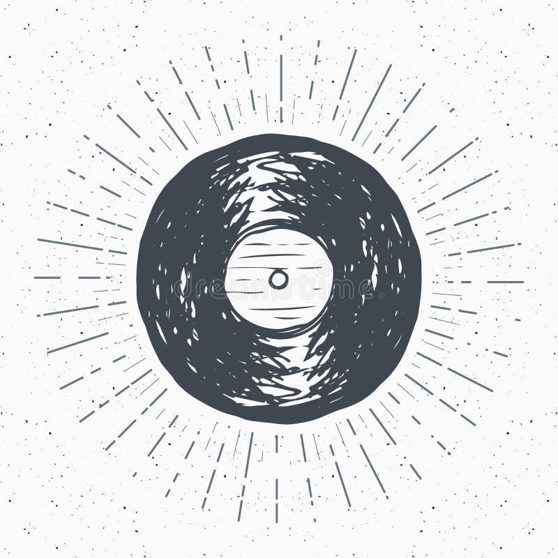 Etiketten för tappning för vinylrekordet, den drog handen skissar, det grunge texturerade retro emblemet, det typografidesignt-sk vektor illustrationer