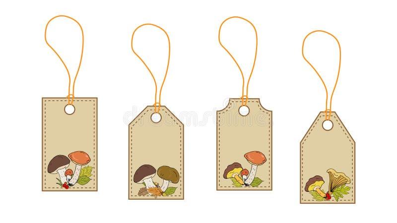 Etiketten, kaarten met het beeld van bospaddestoelen Vector stock illustratie