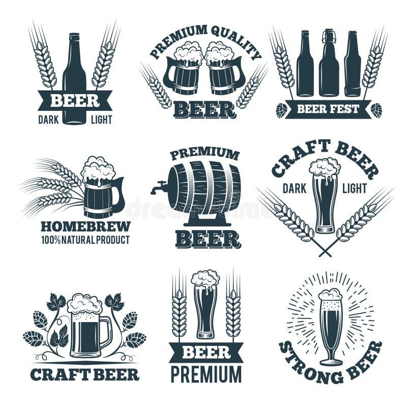 Etiketten of kentekensreeks van bier Elementen voor embleem of embleemontwerp royalty-vrije illustratie