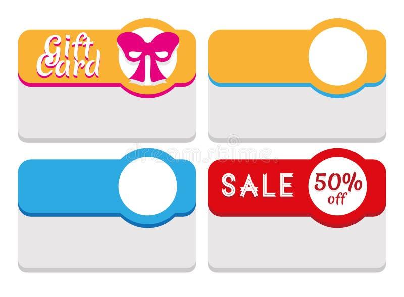 Etiketten, Markeringen, Stickers en Kaartenmalplaatje stock illustratie