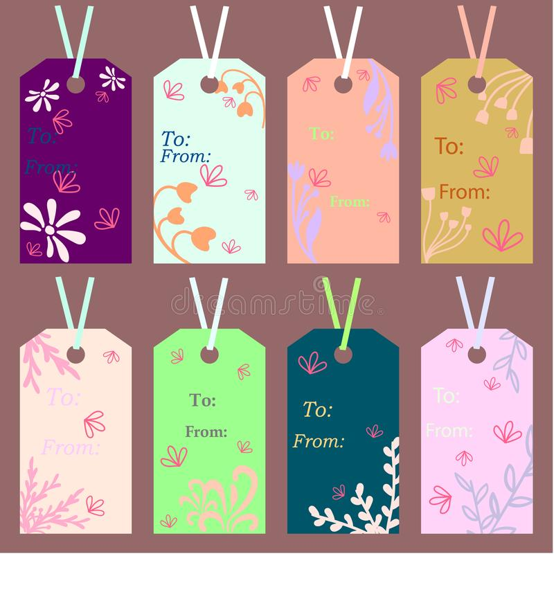 Etiketten met bloemenornamenten van lichte kleuren op een lichtbruine kleur stock illustratie