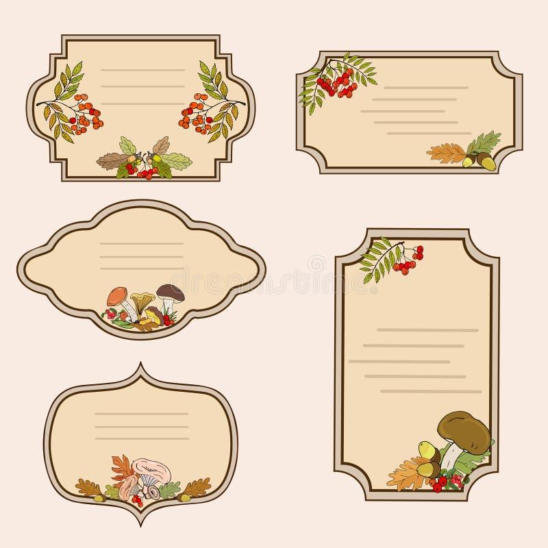 Etiketten met het beeld van bospaddestoelen, de herfstbladeren en lijsterbessenbessen Vector stock illustratie