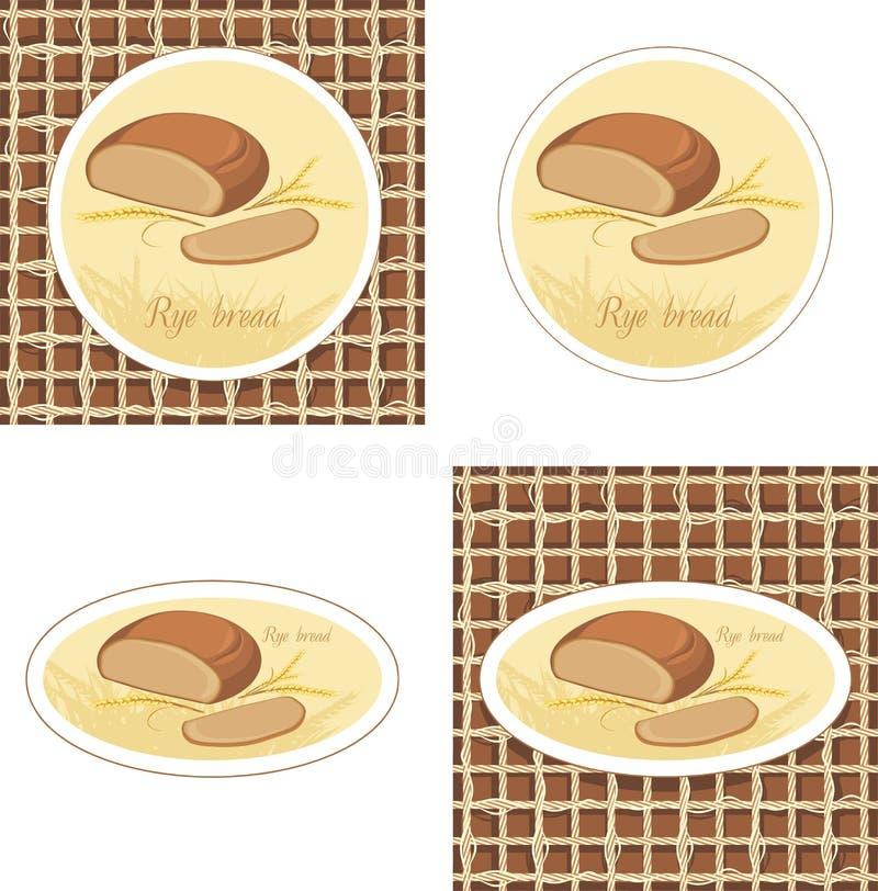 Etiketten met van de roggebrood en tarwe oren op de jute  vector illustratie
