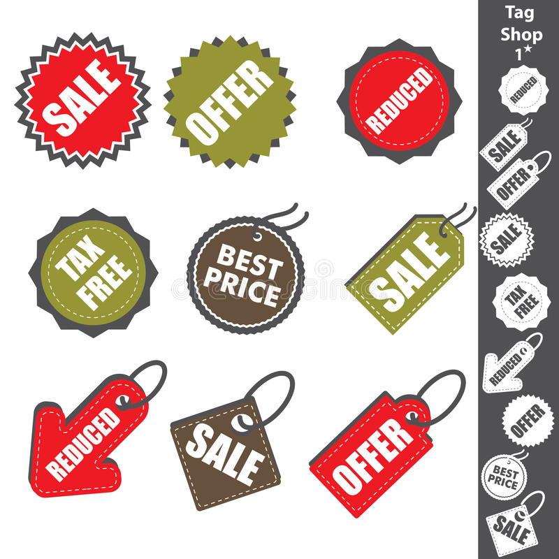Etiketten shoppar 1 vektor illustrationer