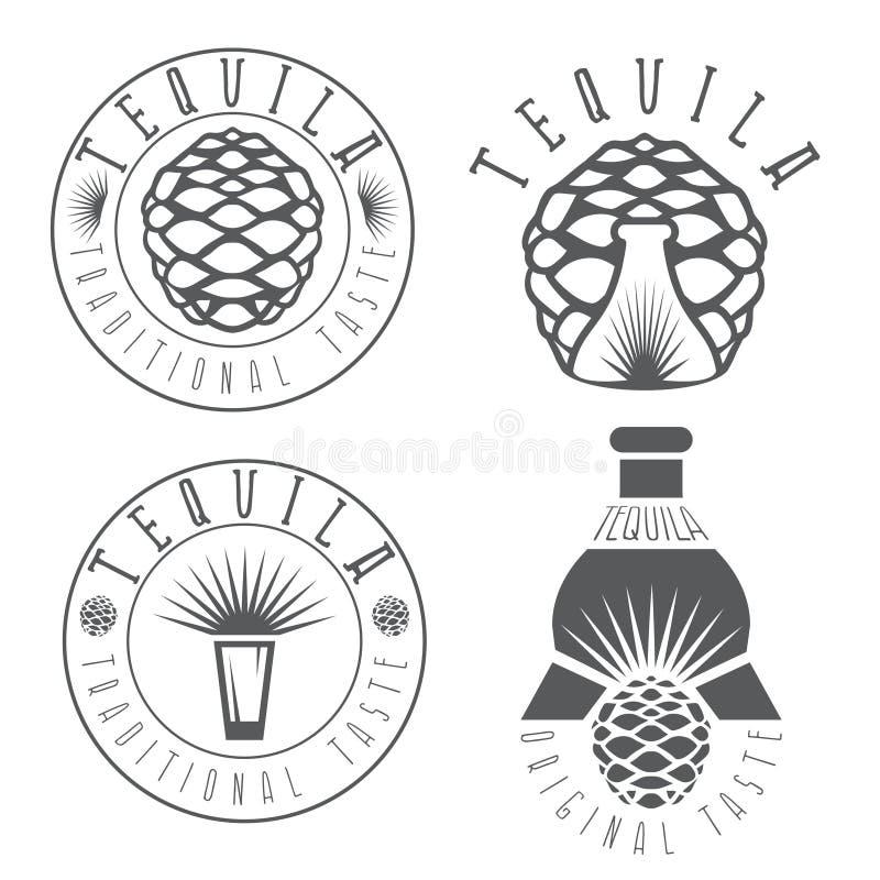 Etiketten van de Tequila de uitstekende reeks met agave royalty-vrije illustratie