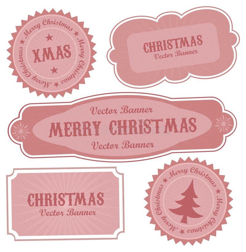 Etiketten van het Ontwerp van Kerstmis de Vector Retro vector illustratie