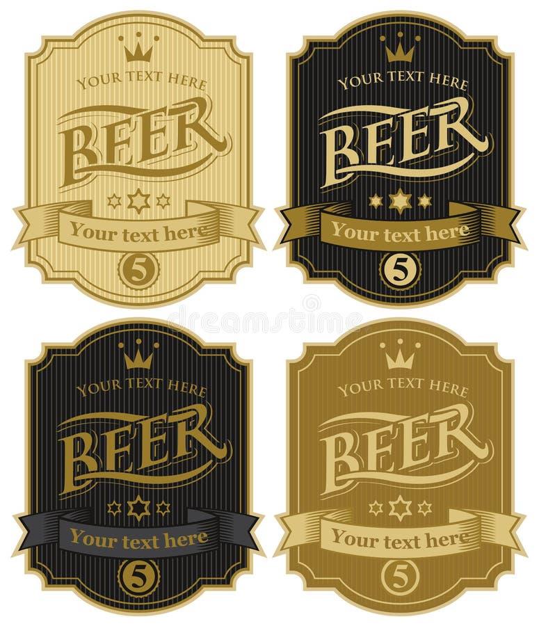 Etiketten voor bier stock illustratie