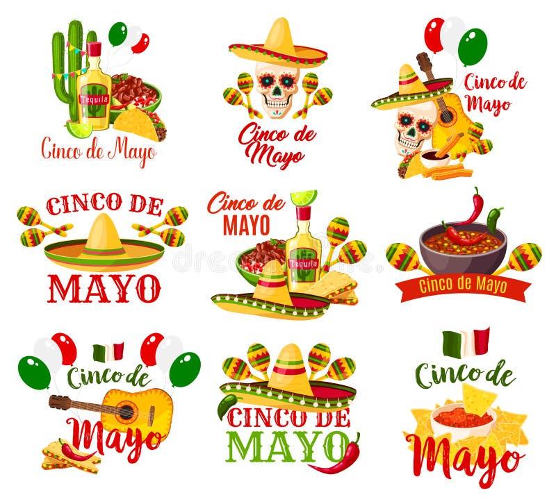 Etiketten voor Cinco de Mayo worden geplaatst dat stock illustratie