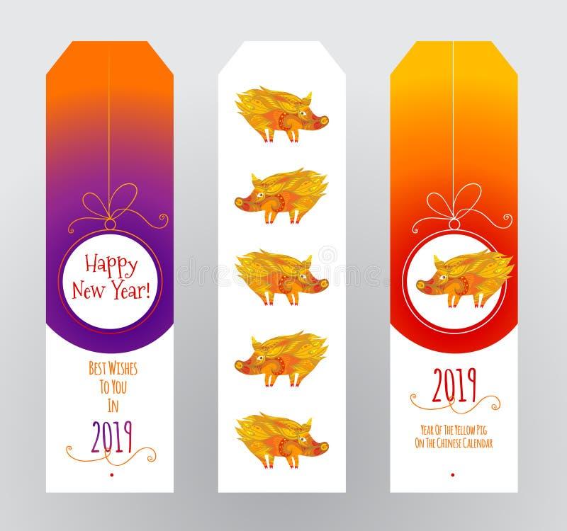 Etiketten voor de groet van het Nieuwjaar in hinese stijl à  ¡ stock illustratie
