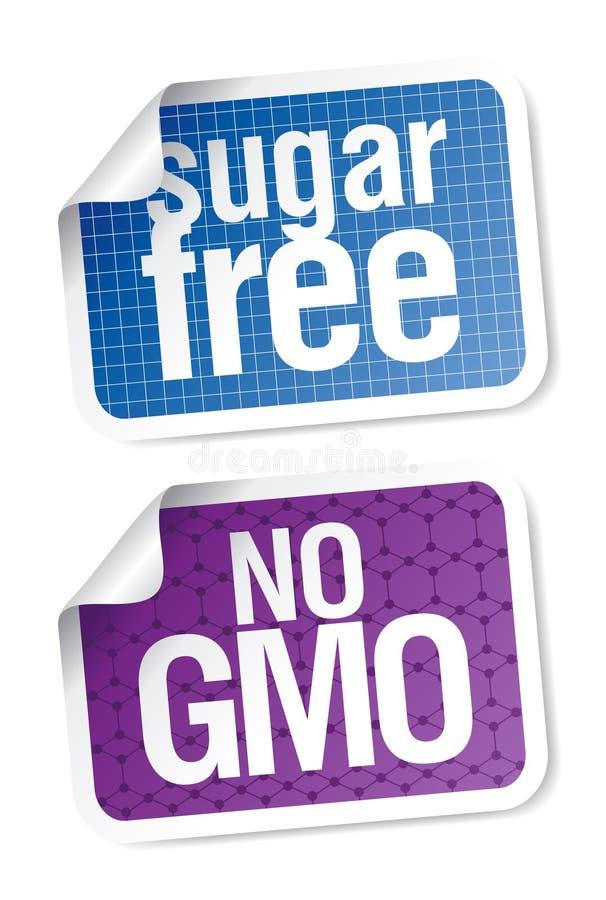 Etiketten voor suiker vrij en biovoedsel stock illustratie