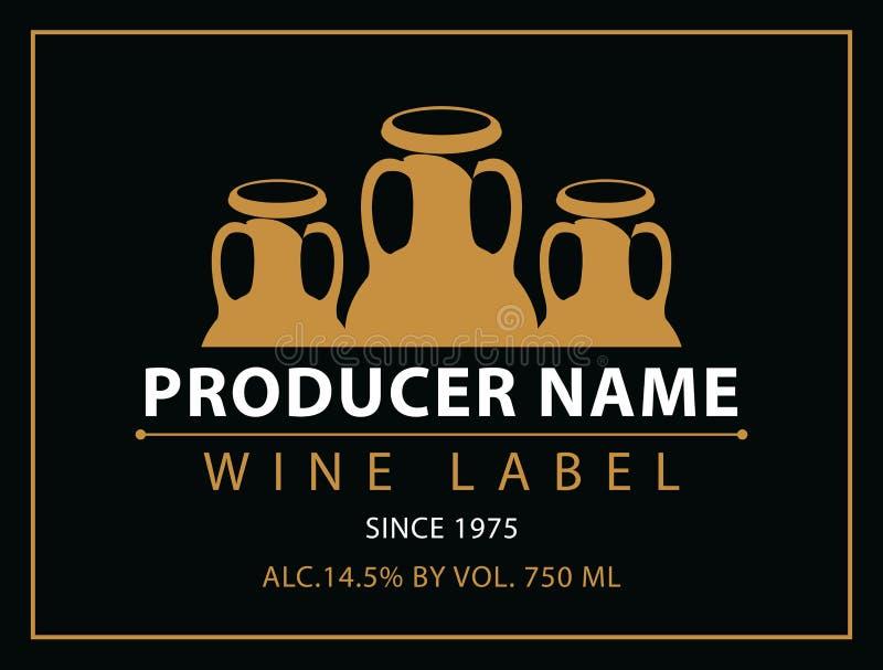 Etiketten voor wijn met druiven stock illustratie