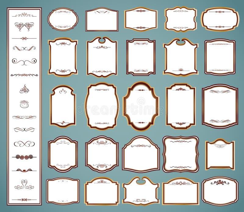 Etikettenkaders en kalligrafische elementen. Vector royalty-vrije illustratie