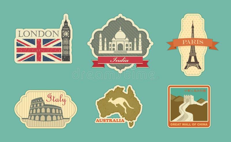 Etiketter av loppet royaltyfri illustrationer