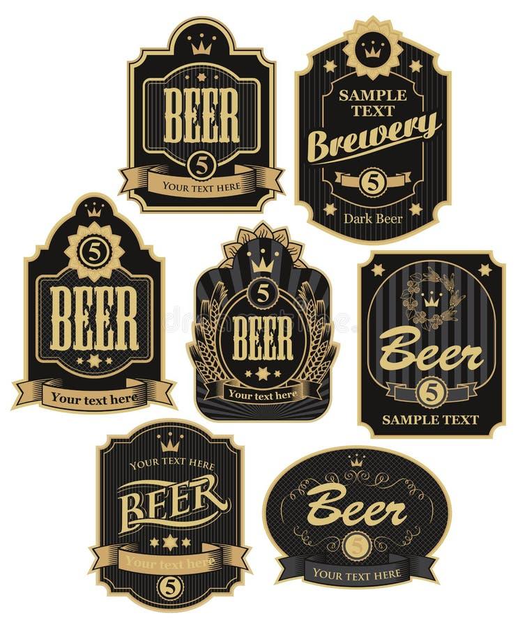 Etiketter för öl royaltyfri illustrationer