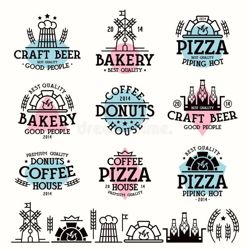 Etiketter för bagerit, kafé, pizzeria stock illustrationer