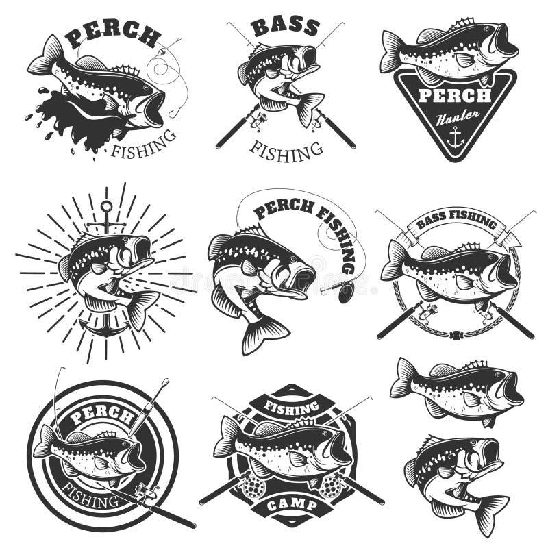 Etiketter för bas- fiske Sittpinnefisk Emblemmallar för att fiska c royaltyfri illustrationer