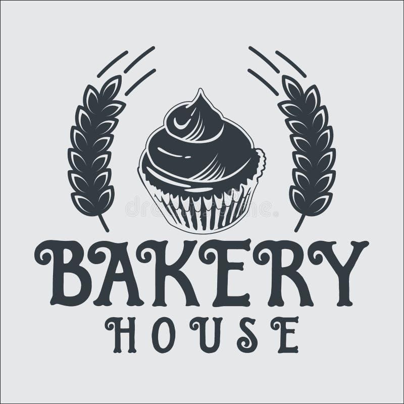 Etiketter för emblem för bageribrödtappning retro vektor illustrationer