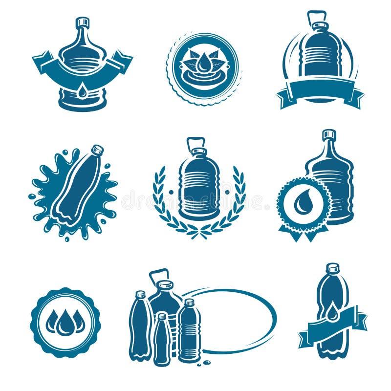 Etiketter för flaskvatten och beståndsdeluppsättning Vattensymbolssamling vektor vektor illustrationer