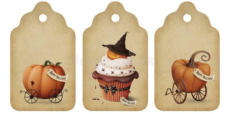 etiketter för halloween ferieinbjudan royaltyfri illustrationer