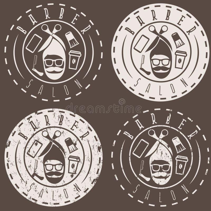 Etiketter för Hipsterstilvektor av barberaren royaltyfri illustrationer